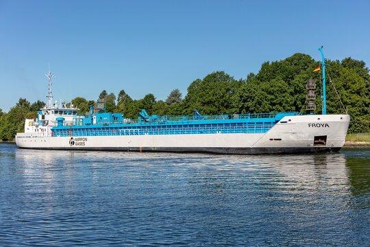 KIEL, GERMANY - JUNE 13, 2021: Nippon Gases CO2 tanker FROYA in the Kiel Canal