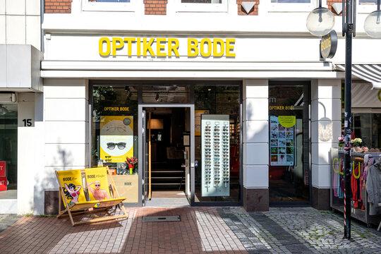ECKERNFÖRDE, GERMANY - JUNE 23, 2021: Optiker Bode optician