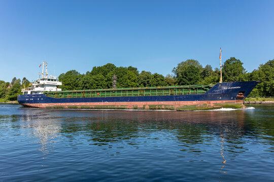 KIEL, GERMANY - JUNE 13, 2021: Baltic Shipping general cargo vessel RIX ELEONORA in the Kiel Canal
