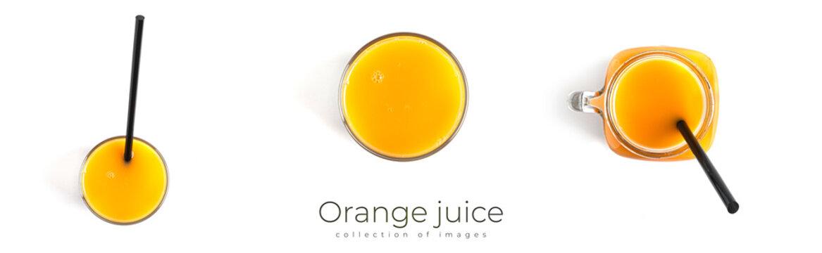 Orange juice in bottle on a white background.