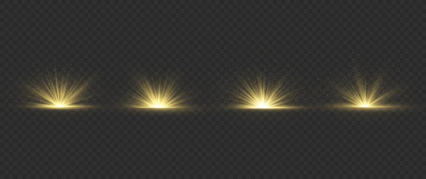 Light effect explosion sun, glitter spark flash.