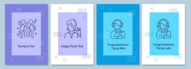 Obraz Annual youth day celebrating postcards with linear glyph icon set. Greeting card with decorative vector design. Simple style poster with creative lineart illustration. Flyer with holiday wish - fototapety do salonu