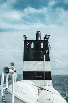 Ship on the way toward an island in the Waddensea.