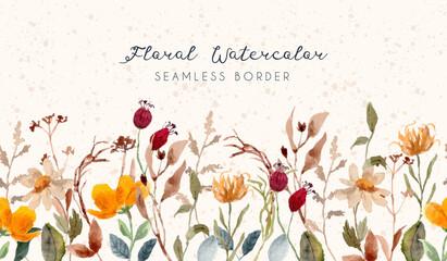 Fototapeta vintage floral watercolor seamless border obraz