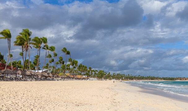 Coastal Caribbean landscape. Sandy Atlantic Ocean coast