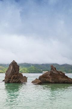 Samana bay, vertical landscape with sharp coastal rocks