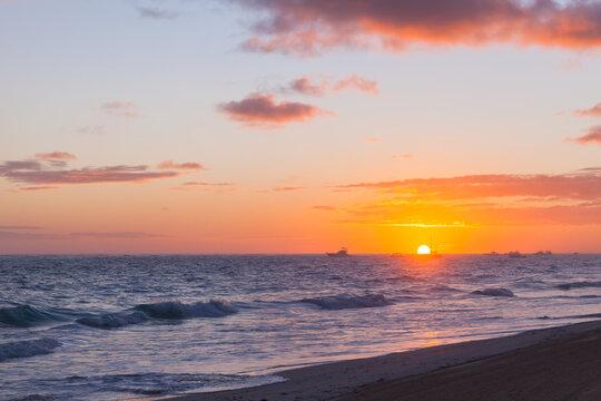 Landscape of Dominican republic, sunrise at Punta Cana beach