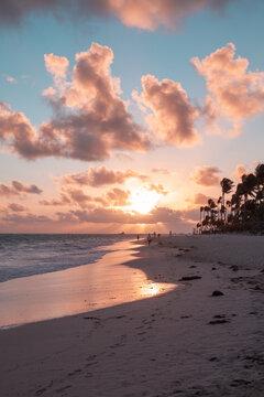 Tropical sunrise at Atlantic Ocean coast. Bavaro beach