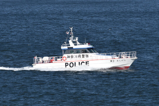 Kanagawa, Japan - February 11, 2021:Kanagawa Prefectural Police Ashigara, 12m class Patrol boat.