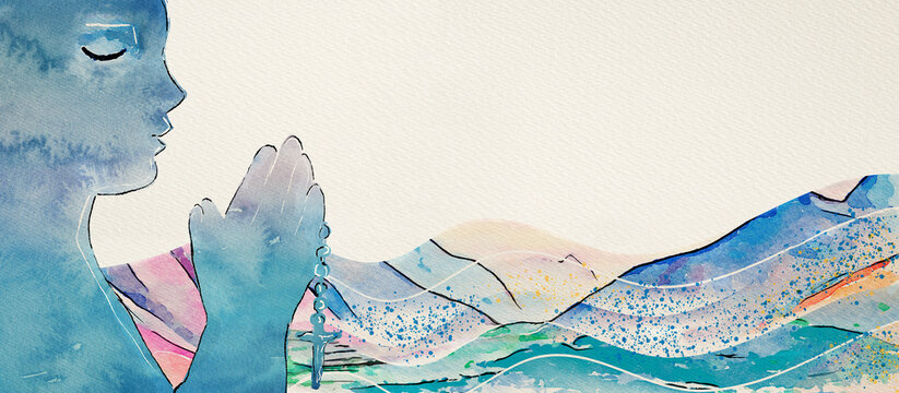 Christian prayer. Watercolor concept background