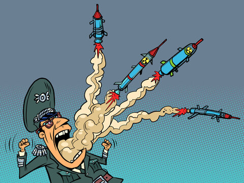 The military militarist has rockets flying out of his mouth. The danger of war