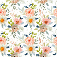 Fototapeta delicate floral watercolor seamless pattern obraz