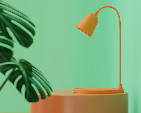 Orange desk light on table in studio room, Blank stage for product presentation design. 3D rendering.