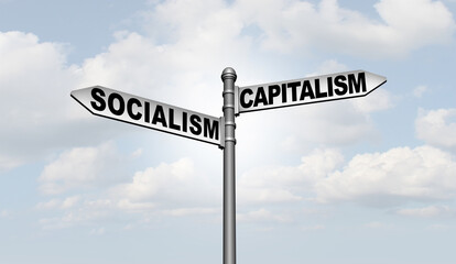 Fototapeta Socialism And Capitalism as two different economic and political systems as a choice for social ideology path and society direction  obraz
