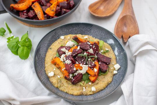 healthy plant-based food, vegan roasted veggies with polenta dish