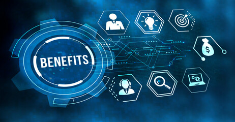 Obraz Internet, business, Technology and network concept.Employee benefits help to get the best human resources. Business concept. - fototapety do salonu