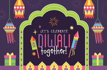 Obraz Happy Diwali Hindu festival modern flat design with fireworks, hanging lanterns, oil lamps and typography design.  - fototapety do salonu