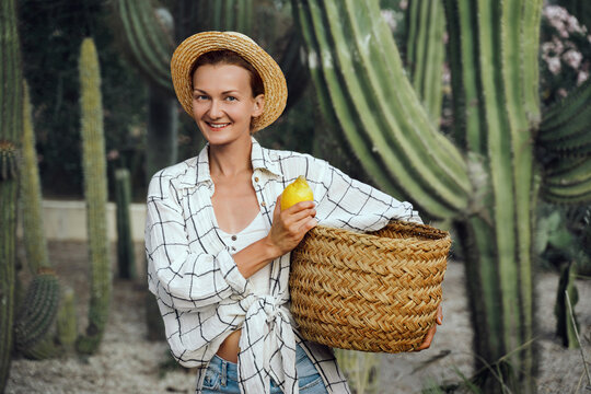 Rustic fashion girl holding basket of fresh lemons on farm among green giant cacti. Local market or organic produce concept. Sustainable small business.
