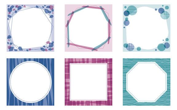 落ち着いた雰囲気の正方形のフレームセット ブルー・パープル系