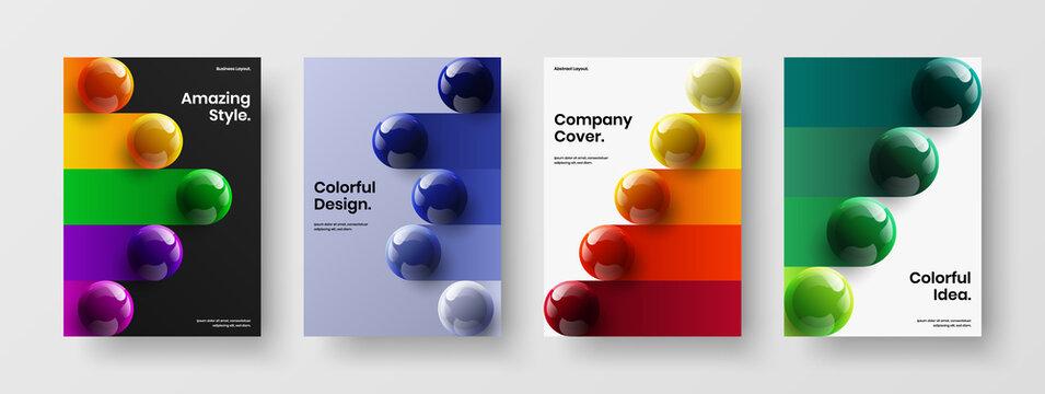 Modern 3D spheres postcard illustration collection. Multicolored brochure A4 design vector concept composition.