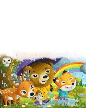 cartoon forest animals friends walking in the rain