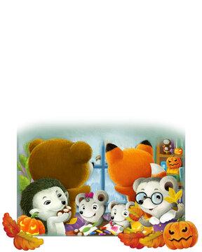 cartoon animals in kindergarten with halloween pumpkin