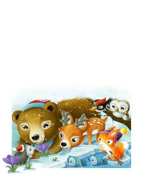 cartoon animal friends near frozen water illustration