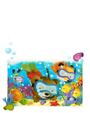 cartoon forest animal diving on coral reef illustration