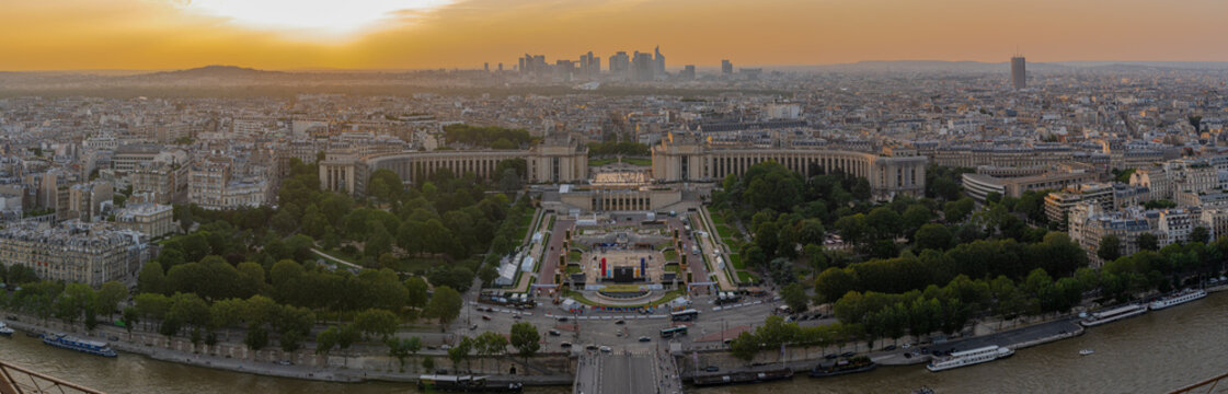 Paris, France - 07 22 2021: Eiffel Tower: View of the Trocadero and la Defense at sunset