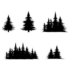 Obraz Set several pine trees silhouette with leaf vector symbol , isolated on white background , Illustration Vector EPS 10 - fototapety do salonu