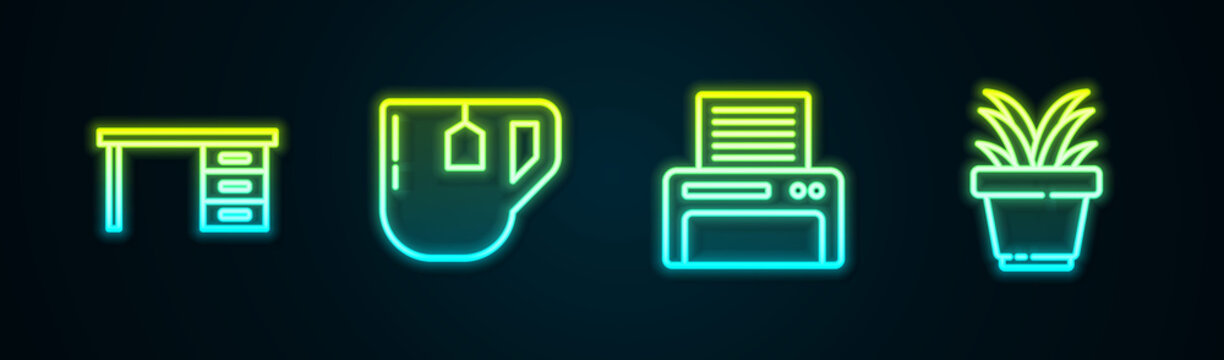 Set line Office desk, Cup of tea with tea bag, Printer and Plant pot. Glowing neon icon. Vector