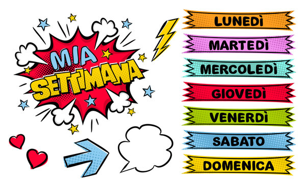 Italian Weekday labels. Set of comic stickers for week planner. Cartoon Vector illustration for Italy. Translation: My week, Monday, Tuesday, Wednesday, Thursday, Friday, Saturday, Sunday
