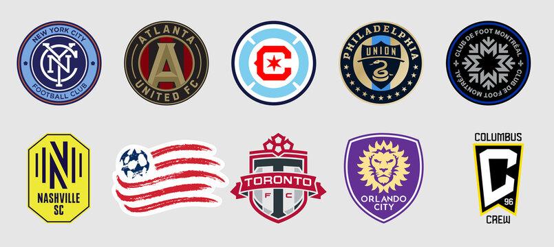 Vinnytsia, Ukraine - July 23, 2021. Set of  football logo of Eastern Conference. New England Revolution, Orlando City, Philadelphia Union, Nashville SC, Club de Foot Montreal, Columbus Crew,  New York