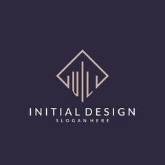 Obraz UL initial monogram logo with rectangle style design - fototapety do salonu