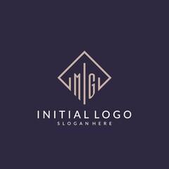 Fototapeta MG initial monogram logo with rectangle style design obraz