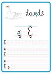 Fototapeta Plansza do nauki pisania liter alfabetu, litera ę obraz