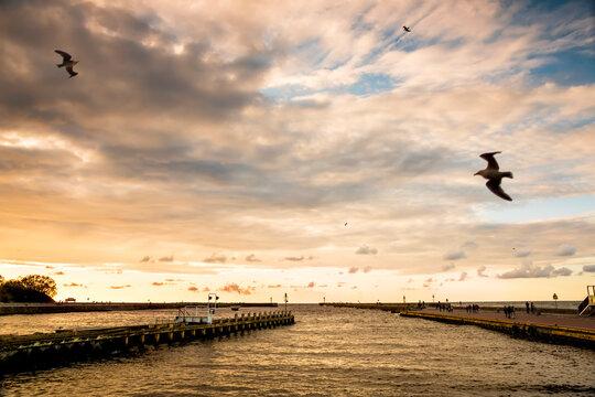 Landscapes of Poland. Beautiful sunset at Baltic sea. Ustka.