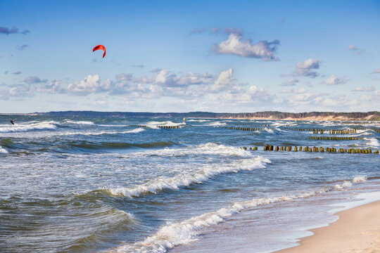 Landscapes of Poland. Windy day at Baltic sea.  Kitesurfing near Gdansk.