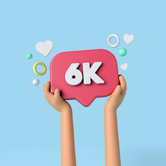Fototapeta 6k social media subscribers sign held by an influencer. 3D Rendering. obraz