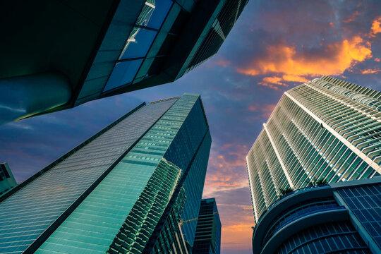 modern office building skyscrapers  miami