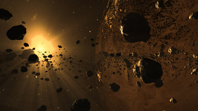 Asteroids in space. Computer generated image of the asteroid belt with planet and bright sunlight in the background