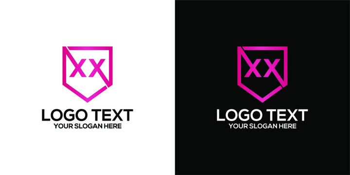 abstract pink XX logo letter in geometric pentagon shape design concept