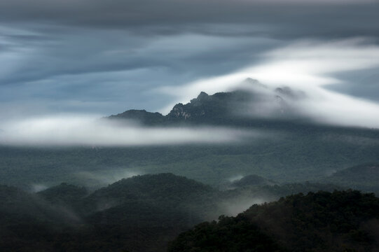 Beautiful fog in the forest with green mountains. Long Exposure.