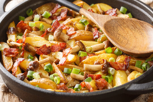 Rustic style fried potatoes with onions, mushrooms and bacon close-up in a frying pan. horizontal