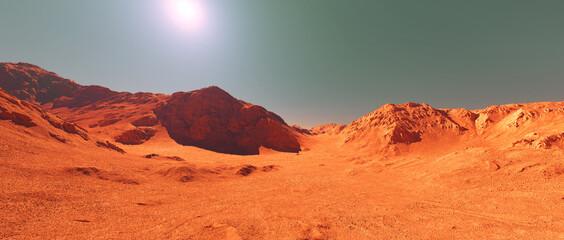 Mars planeet landschap, 3d render van denkbeeldig Mars planeet terrein, oranje geërodeerde woestijn met bergen, realistische science fiction illustratie.
