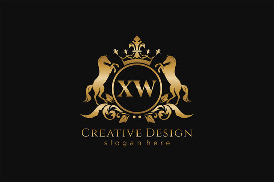 initial XW Retro golden crest with circle and two horses, badge template with scrolls and royal crown - perfect for luxurious branding projects