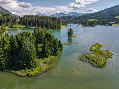 Drone view of the lake at Valbella in the Swiss alps