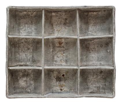 Very old aluminium container