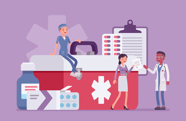 Obraz Healthcare female administrator managing doctor staff, hospital community and personnel. Clinic manager busy to organize, control and coordinate service, giant medical kit, drugs. Vector illustration - fototapety do salonu