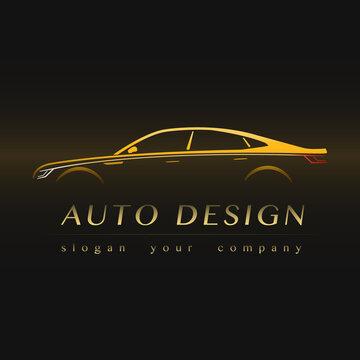Auto Company Yellow Logo Vector Design Concept with Sports Car Silhouette.